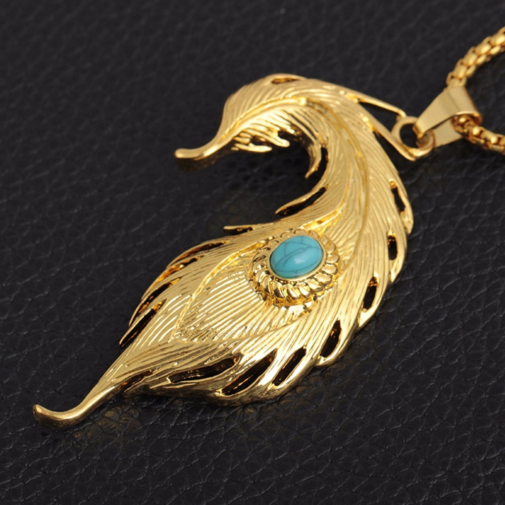 Punk Feather Pendant Long Chain Necklace. Gold/Sliver - Trinket Fascinations Jewelry