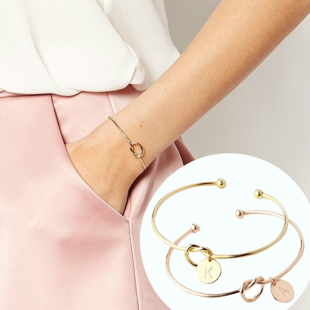 Knot Bangle with letter charm