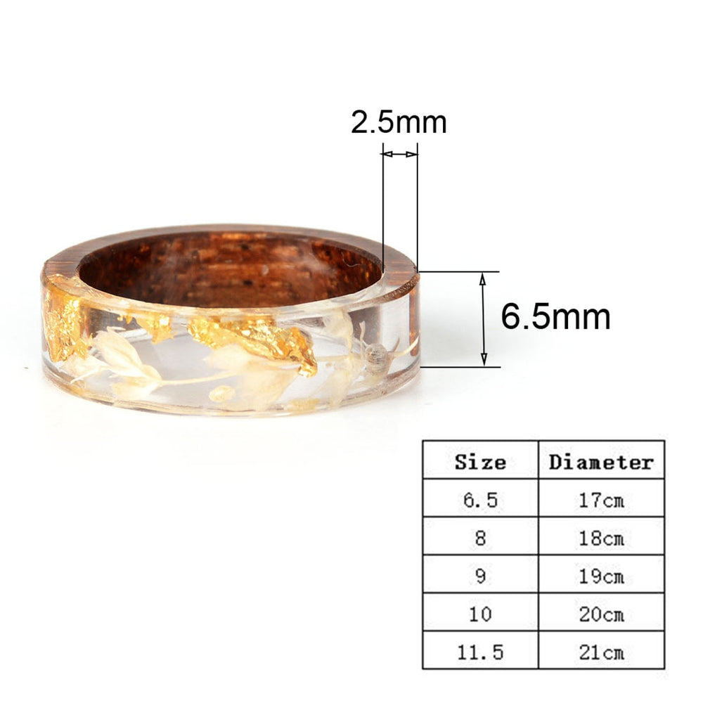 Gold Color Oil Paper Resin Wood Rings - Trinket Fascinations Jewelry