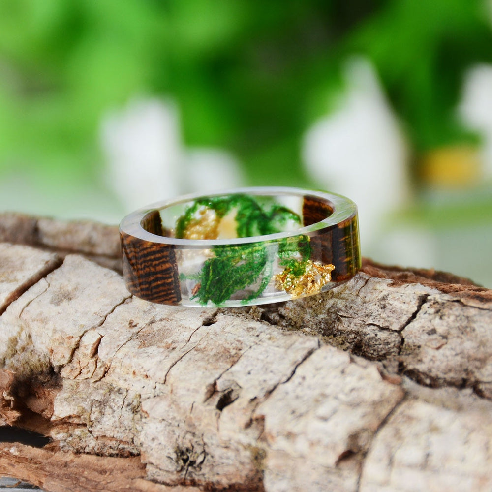 Colorful Dry Flower Seaweed Resin Wood Ring. 4 Designs Available. - Trinket Fascinations Jewelry