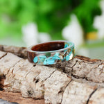 Bohemain Style Resin Wood Blue Stone Transparent Shell Rings - Trinket Fascinations Jewelry