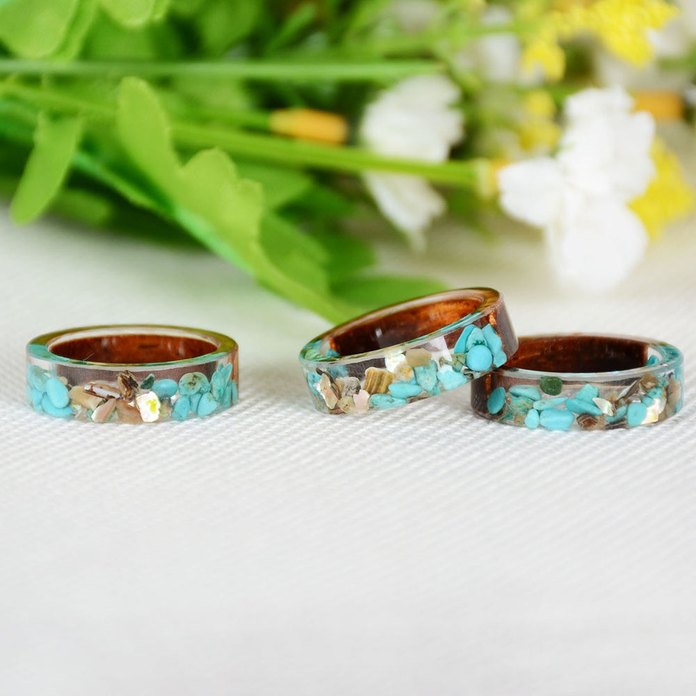 Bohemain Style Resin Wood Blue Stone Transparent Shell Rings