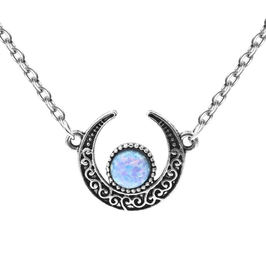 Synthetic Opal Vintage Tribal Crescent Form Pendant Moon Necklace - Trinket Fascinations Jewelry