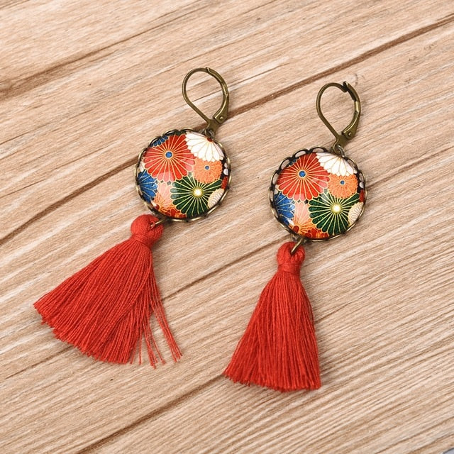 Bohemian Vintage Tassel Pendant Glass Cabochon Dangle Earrings. Available in 3 colors.