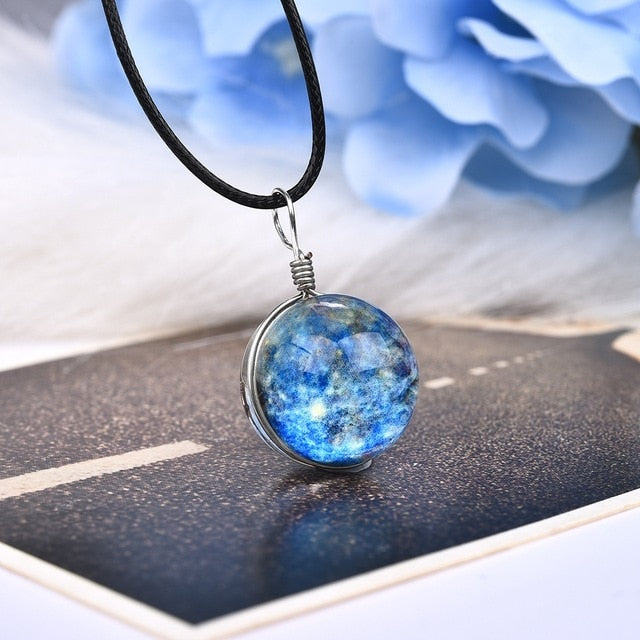 Double-Side Galaxy Luminous Cabochon Glass Pendant Necklace - Trinket Fascinations Jewelry
