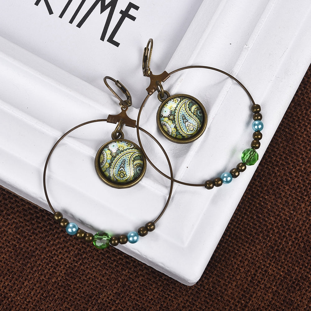 Vintage Style Double Circle Cabochon Glass Ethnic Flowers Print Pendant Earrings - Trinket Fascinations Jewelry