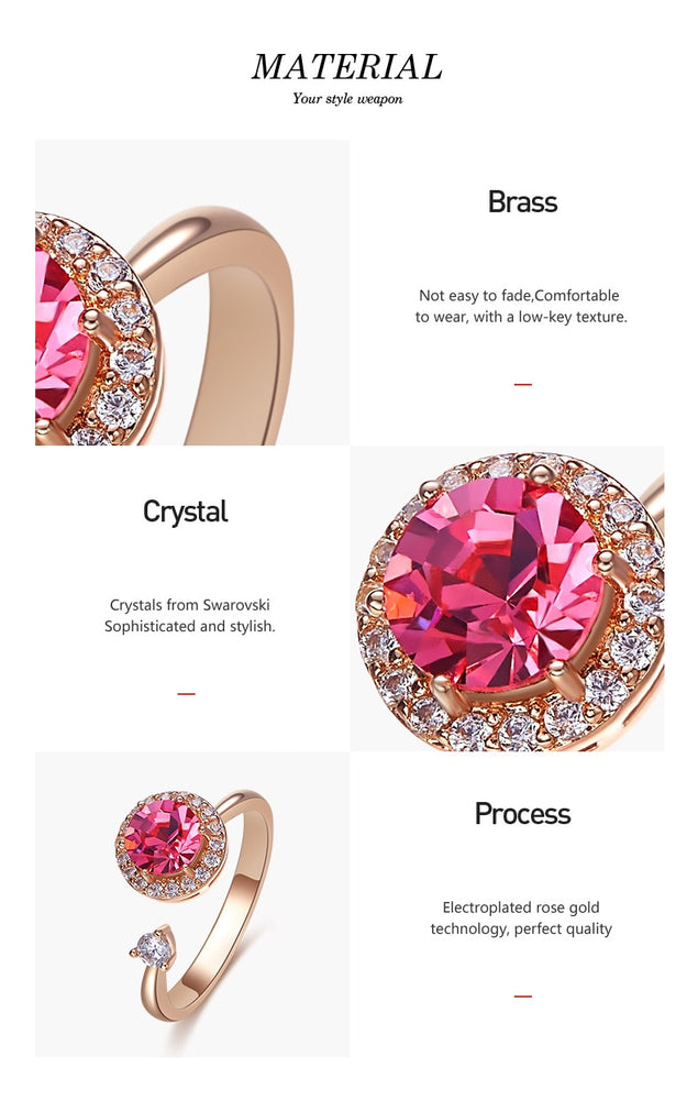 Rotatable Cocktail Rose Gold-Plated Swarovski Crystal Ring - Trinket Fascinations Jewelry