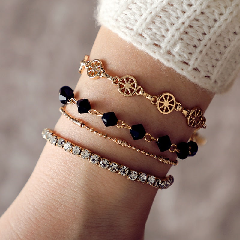 Bohemian Geometric Gold Crystal Flower Black Beads Bracelet Set. 4 Pieces,