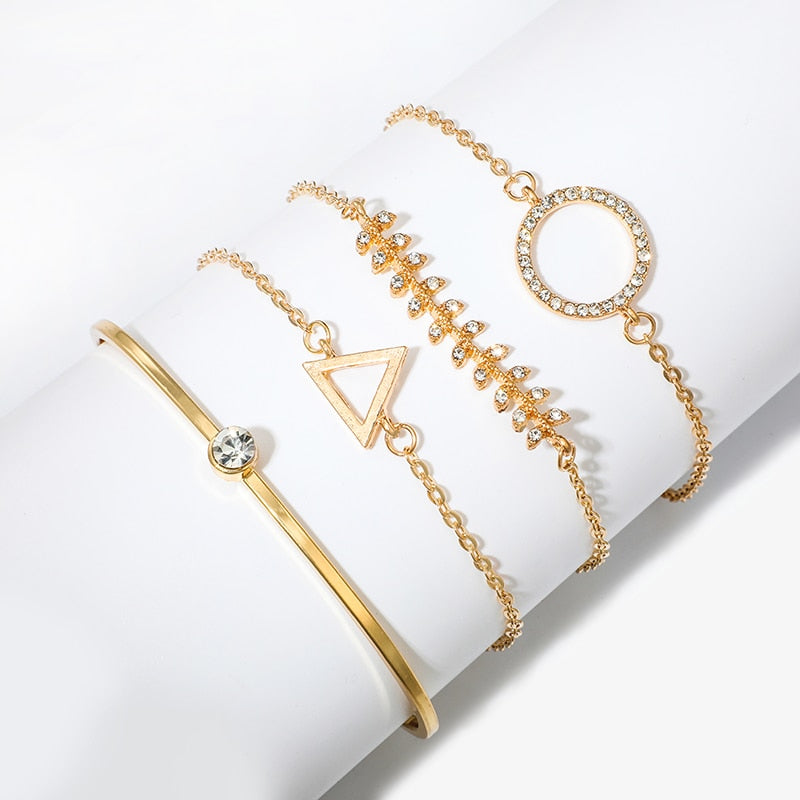 Gold Crystal Triangle Round Bracelet Bangle Set. 4pcs/1set - Trinket Fascinations Jewelry