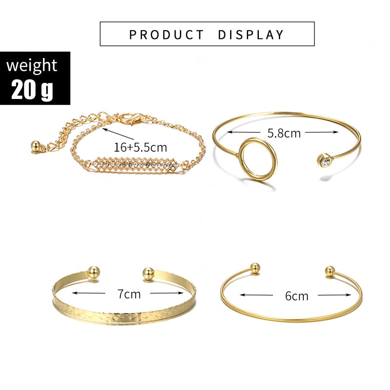 Gold Crystal Round Open Bracelet Bangle Set 4pcs/1set - Trinket Fascinations Jewelry