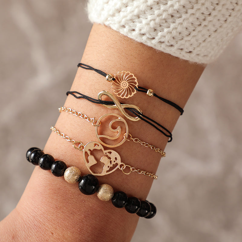 Boho Gold Color Heart Map Wave Bracelet Set. 5 Pieces.