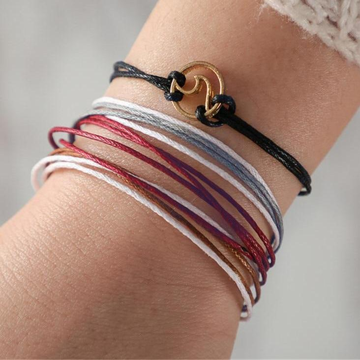 Bohemian Handmade Colorful Rope Wave Bracelet Set. 4pcs/1set