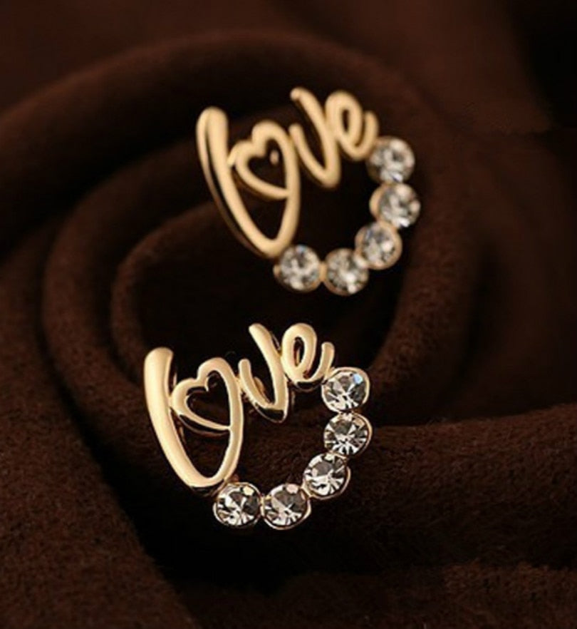 Love Letters Crystal Stud Earrings