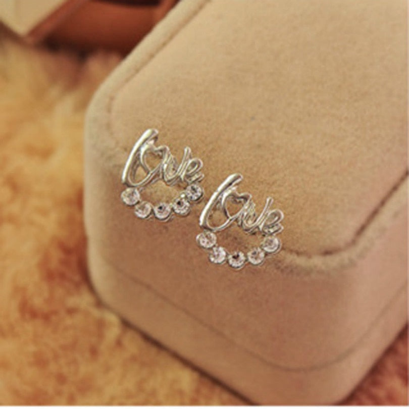 Love Letters Crystal Stud Earrings - Trinket Fascinations Jewelry