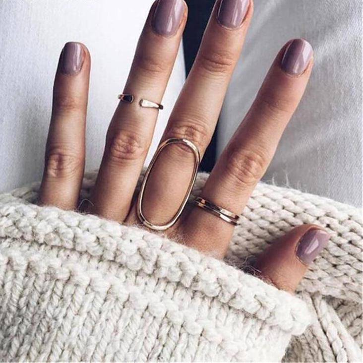 Bohemian Gold Color Round Oval Shape Rings Set. 4 Pieces.