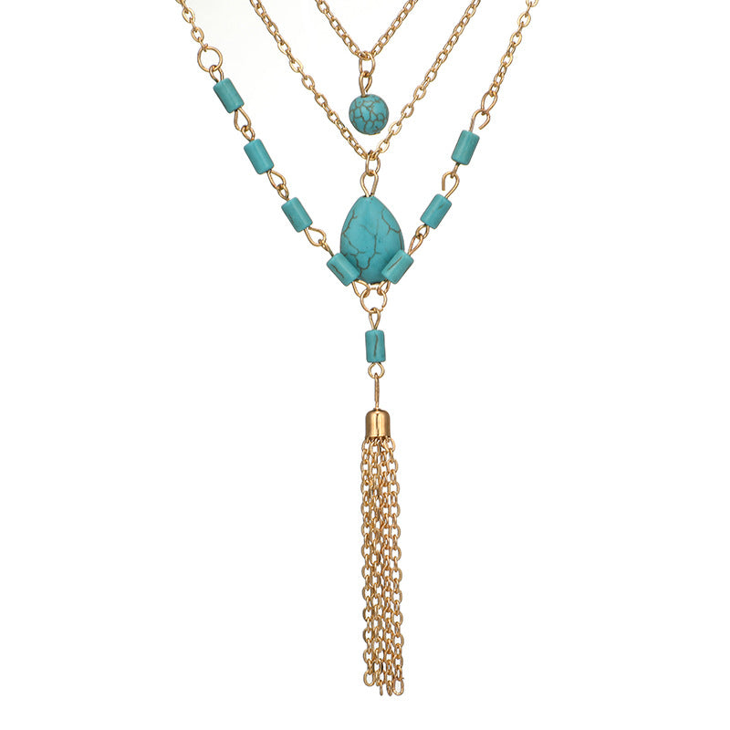 Bohemia Turquoise 3 Multi-Layered Necklace Tassel Charm Statement Necklace