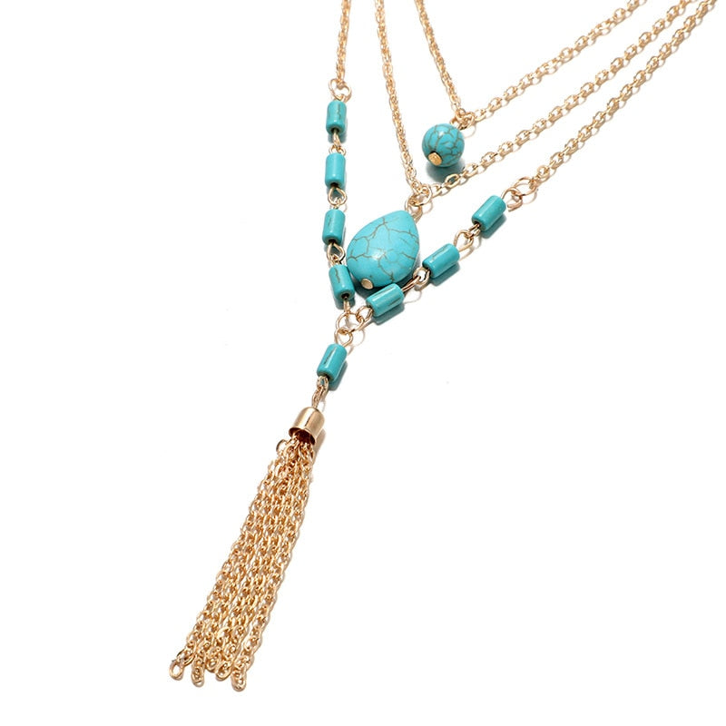 Bohemia Turquoise 3 Multi-Layered Necklace Tassel Charm Statement Necklace - Trinket Fascinations Jewelry