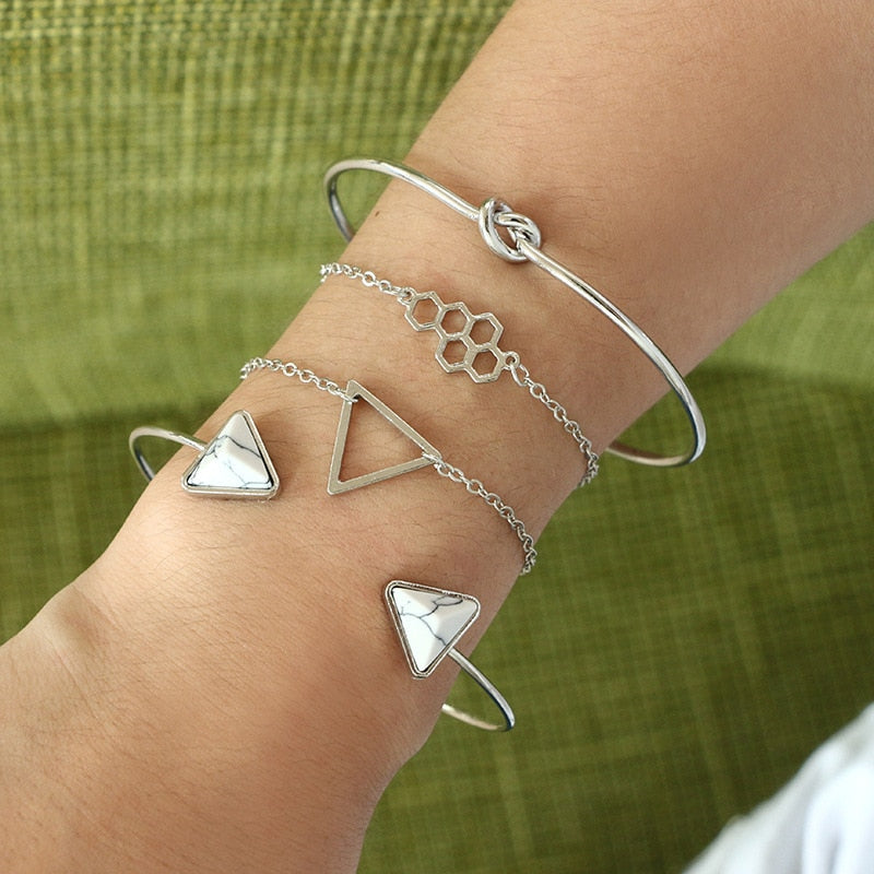 Silver Honeycomb Stone Bracelet Set 4pcs/1set - Trinket Fascinations Jewelry