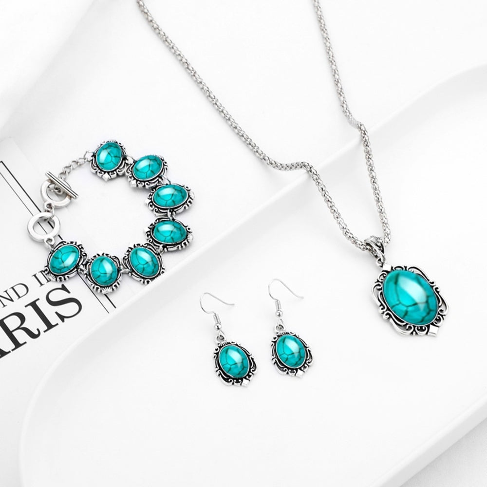 Bohemian Turquoise Oval Necklace Bracelet Earring Jewelry Set
