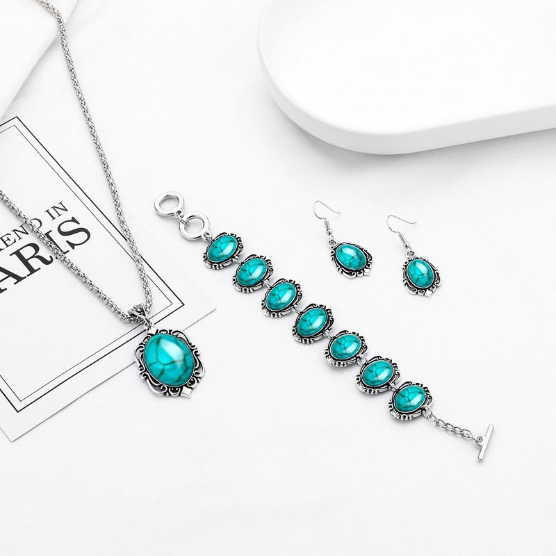 Bohemian Turquoise Oval Necklace Bracelet Earring Jewelry Set - Trinket Fascinations Jewelry