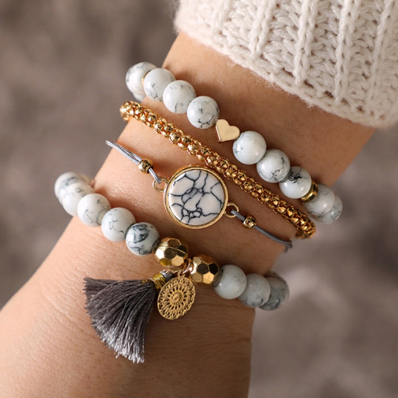 Bohemian Gold-White Heart Beads Tassel Bracelet Set. 4 Pieces. - Trinket Fascinations Jewelry