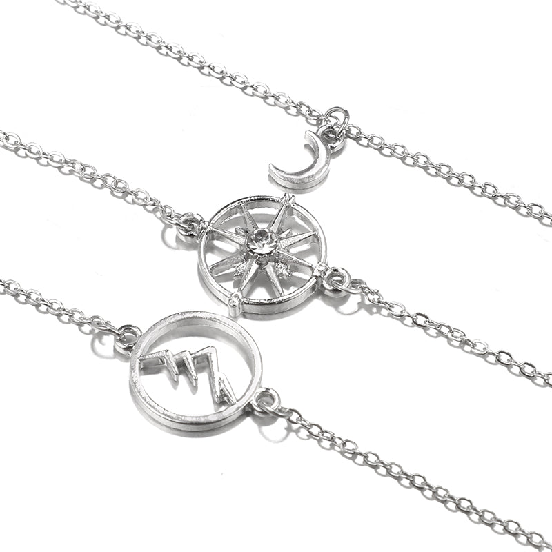 Bohemian Silver Mountain Peak Compass Moon Bracelet Set. 3 Pieces.