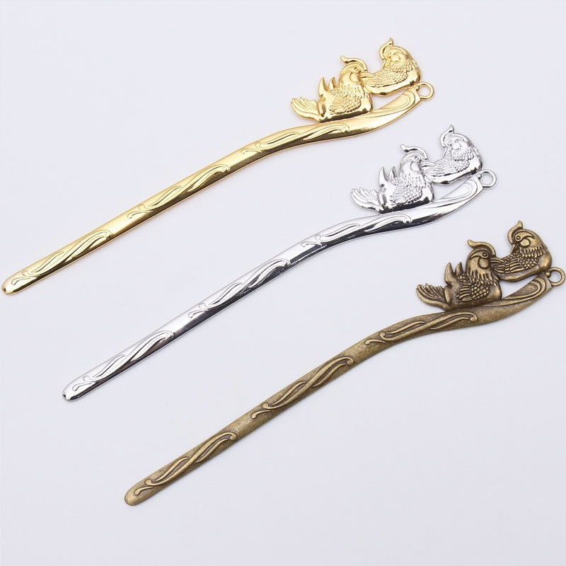 Vintage Style Metal Zinc Alloy Mandarin Duck Hair Sticks 150*27mm