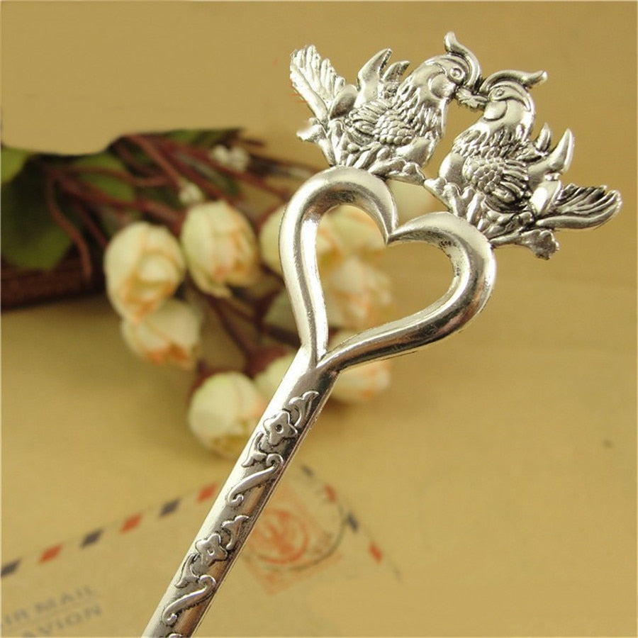 Plated Vintage Style Metal Zinc Alloy Mandarin Duck Hair Sticks 160*40MM