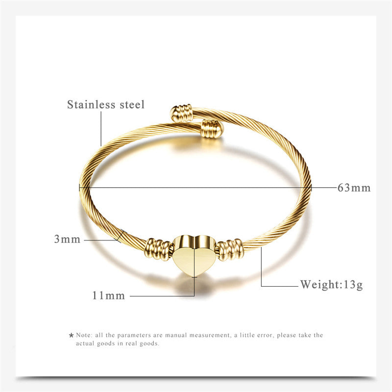 Stainless Steel Twisted Cable Wire Heart Charm Bangle - Trinket Fascinations Jewelry