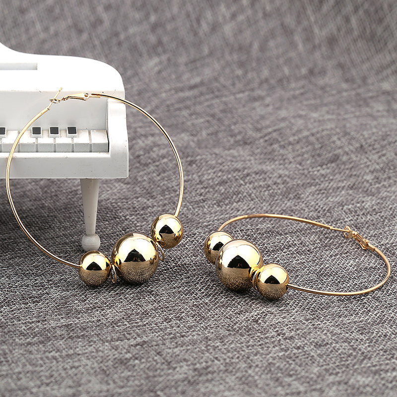 High-Polished Colored Pearl Hoop Earring. Gold/Silver - Trinket Fascinations Jewelry