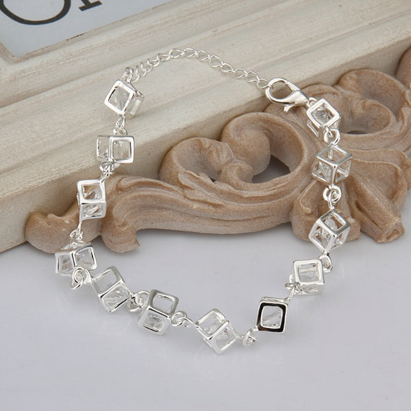 Silver plated White Crystal Charm Bracelet - Trinket Fascinations Jewelry