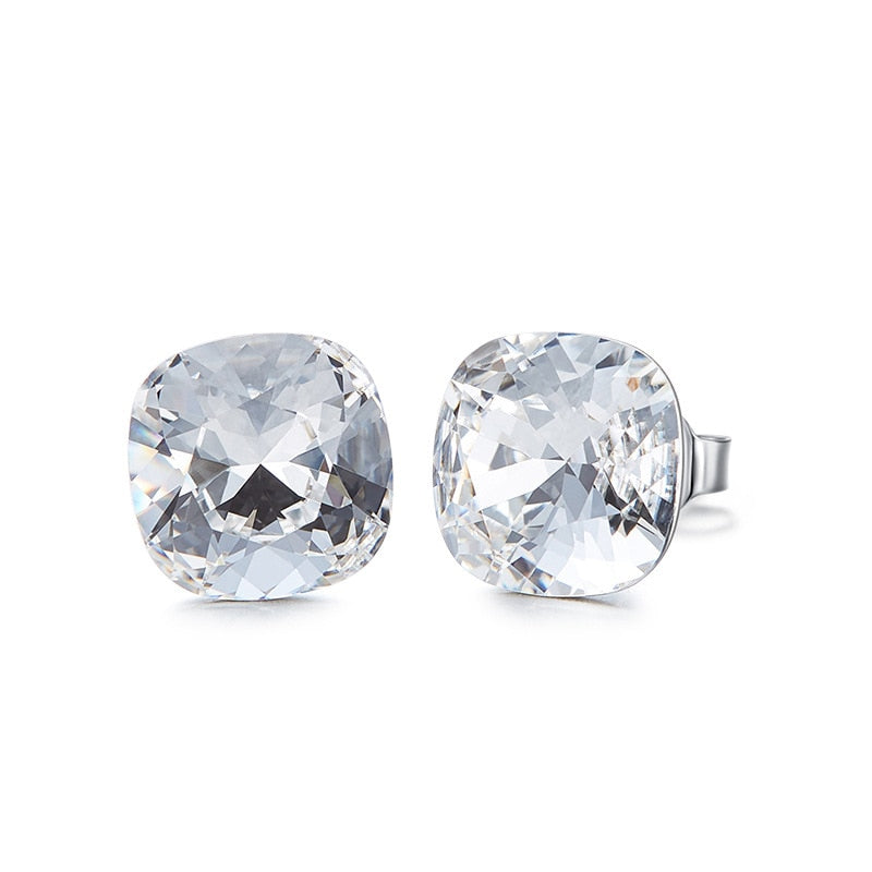 Crystals from Swarovski Earrings Silver 925 Square Stone Stud Earrings - Trinket Fascinations Jewelry