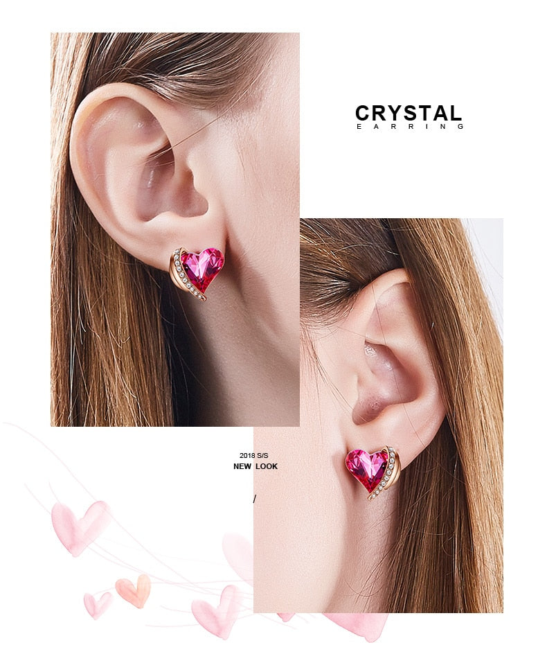 Rose Gold Angel Wings Pink Heart Crystals from Swarovski Stud Earrings - Trinket Fascinations Jewelry