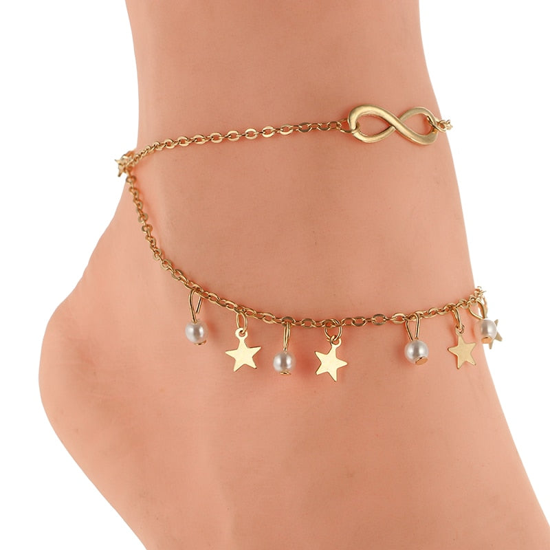 Gold Star Pearl Charms Layered Anklet for Women - Trinket Fascinations Jewelry