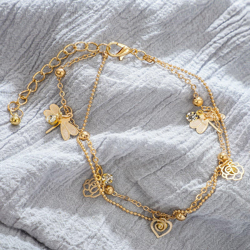 Gold Color Flower Dragonfly Crystal Bracelet - Trinket Fascinations Jewelry