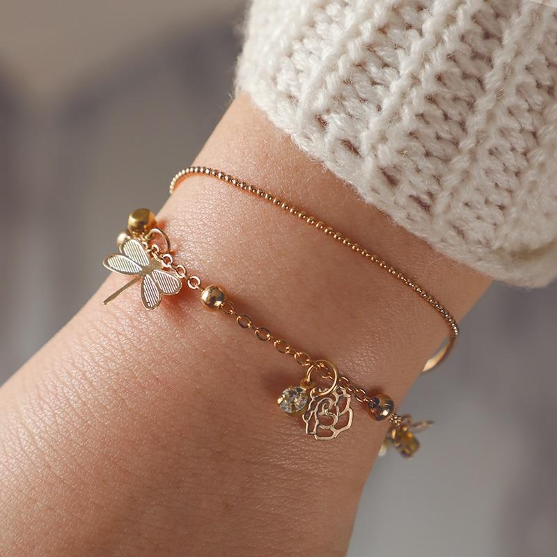 Gold Color Flower Dragonfly Crystal Bracelet
