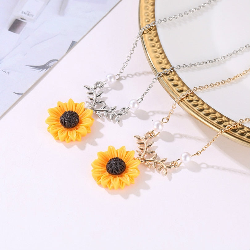 Sun Flower Pendant Necklace with Pearls - Trinket Fascinations Jewelry