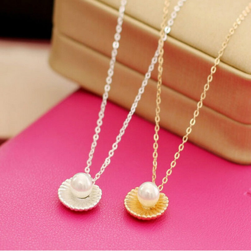 Simple Pearl Shell Shape Pendant Necklace - Trinket Fascinations Jewelry