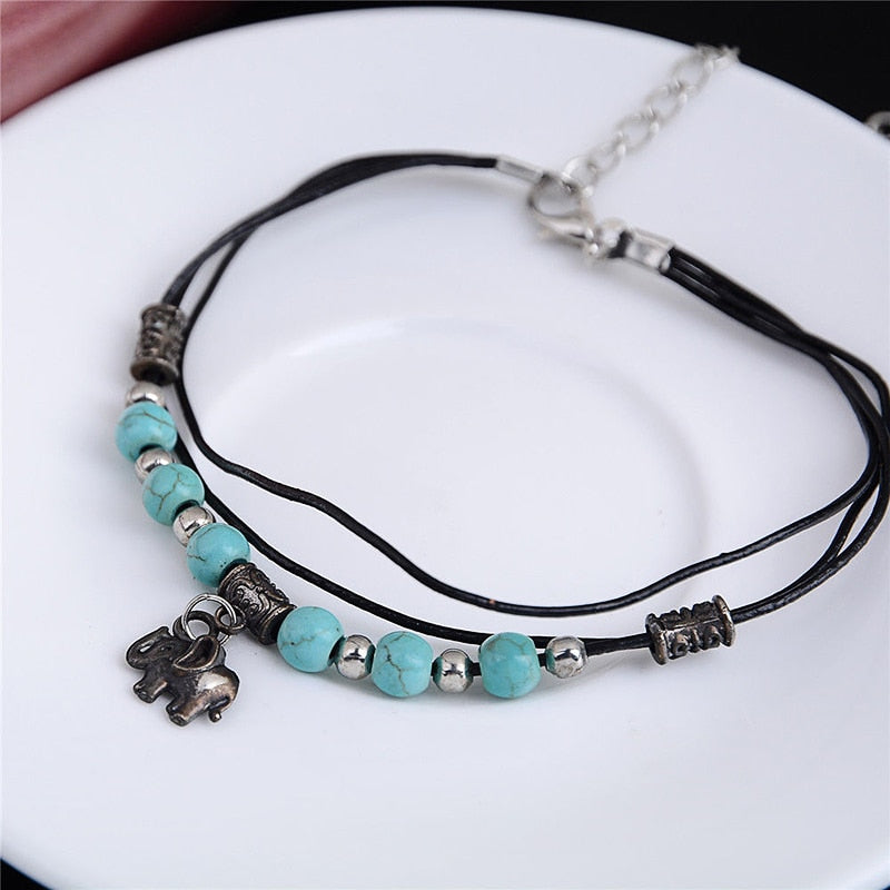 Turquoise Stone Bead Elephant Handmade Anklet - Trinket Fascinations Jewelry