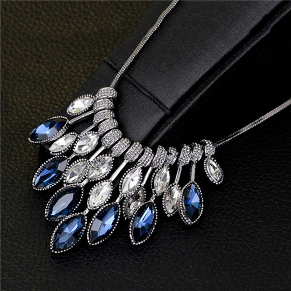 Crystal Rhinestone Pendant Choker Necklace - Trinket Fascinations Jewelry