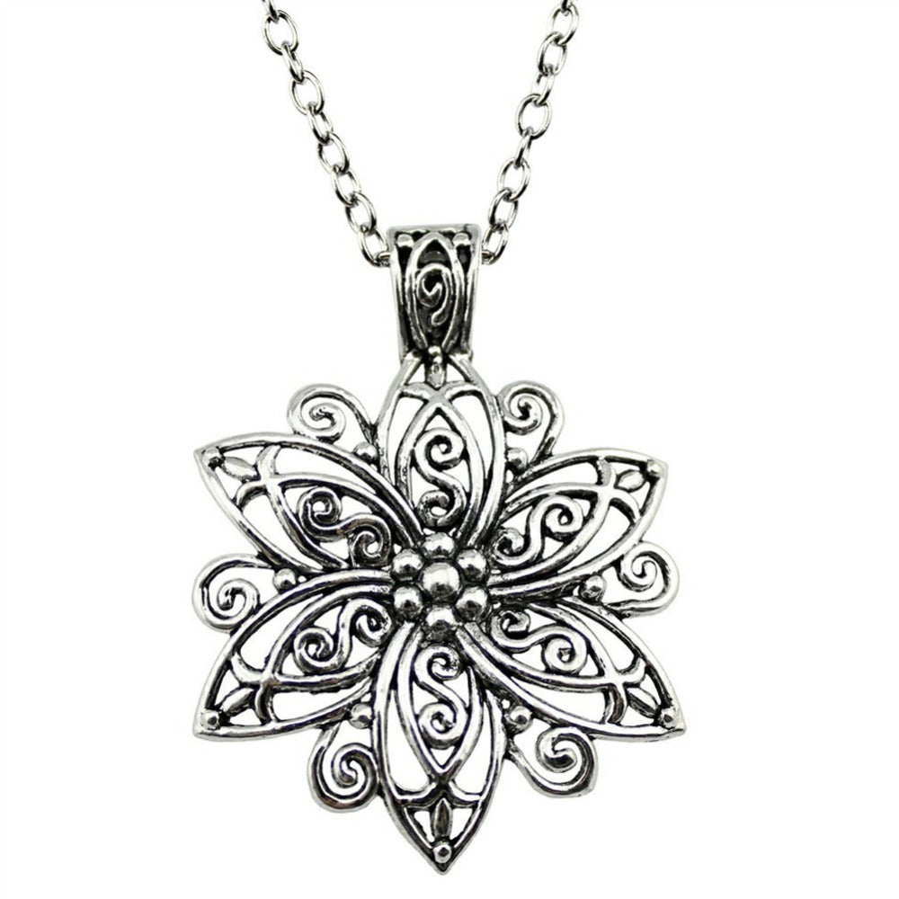 Hollow Flower Pendant Long Necklace
