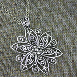 Hollow Flower Pendant Long Necklace - Trinket Fascinations Jewelry