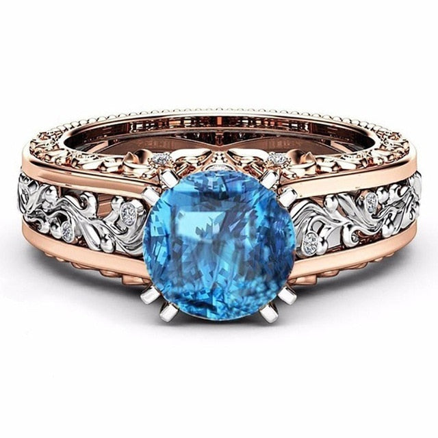 Princess White/Blue/Champagne Crystal Zircon Flower Ring - Trinket Fascinations Jewelry