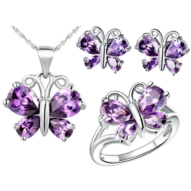 White Gold Crystal Butterfly Stud Earring Ring Necklace Jewelry Set - Trinket Fascinations Jewelry