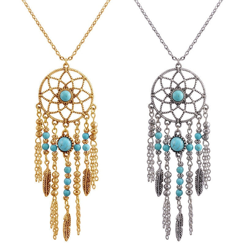 Bohemain Silver Gold Dream Catcher Long Necklace