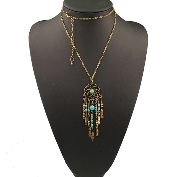 Bohemain Silver Gold Dream Catcher Long Necklace - Trinket Fascinations Jewelry
