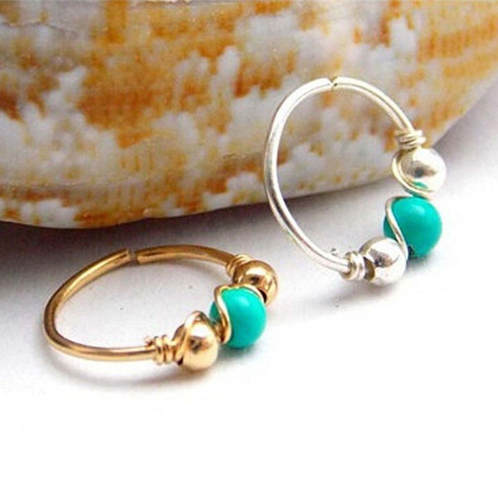 Stainless Steel Turquoise Nose Ring. 1 Piece. Various Colors and Sizes. - Trinket Fascinations Jewelry