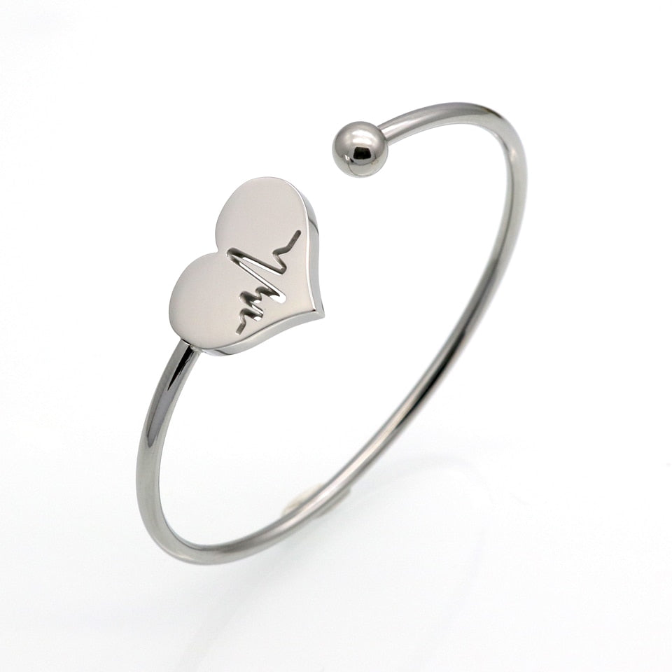 Hollow Heart Carved ECG Stainless Steel Bangle