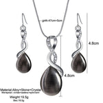 Opal Water Drop Pendant Necklace Earring Set - Trinket Fascinations Jewelry