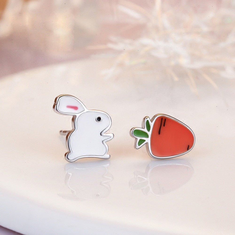 Cute Rabbit and Carrot Silver Earring - Trinket Fascinations Jewelry